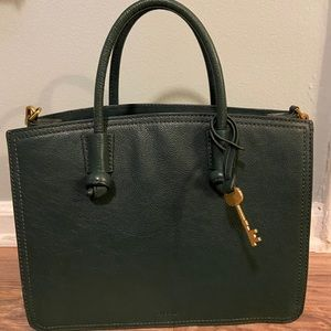 Fossil Leather Satchel, Green & Gray